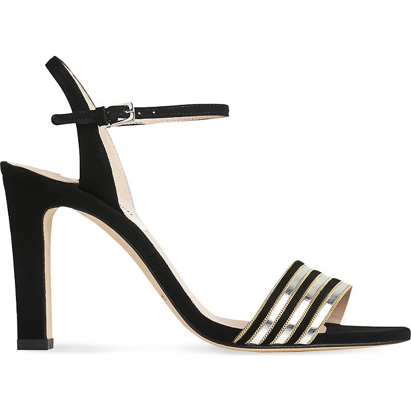 Samantha Suede Sandals, Women's, Eur 36 / 3 Uk Women, Bla Silver - secondary colour: silver; predominant colour: black; occasions: evening, occasion; material: suede; heel height: high; ankle detail: ankle strap; heel: stiletto; toe: open toe/peeptoe; style: standard; finish: plain; pattern: colourblock; embellishment: chain/metal; season: a/w 2016; wardrobe: event