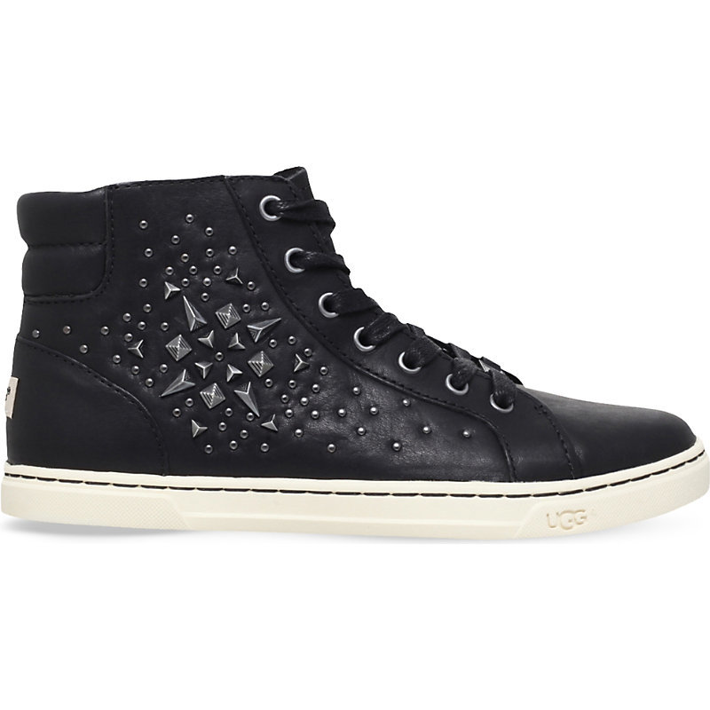 Gradie Studded Leather Trainers, Women's, Eur 38 / 5 Uk Women, Black - predominant colour: black; occasions: casual; material: leather; heel height: flat; embellishment: studs; toe: round toe; style: trainers; finish: plain; pattern: plain; wardrobe: basic; season: a/w 2016