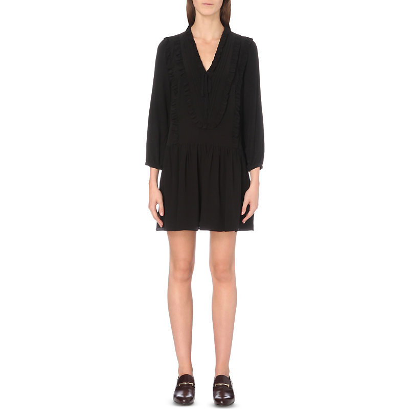 Rimini Crepe Dress, Women's, Noir - style: shift; neckline: v-neck; pattern: plain; predominant colour: black; occasions: evening; length: just above the knee; fit: straight cut; fibres: polyester/polyamide - 100%; sleeve length: short sleeve; sleeve style: standard; texture group: crepes; pattern type: fabric; season: a/w 2016; wardrobe: event