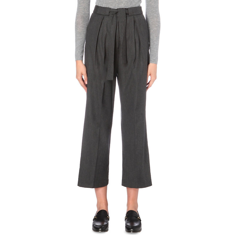 Paisible Wool Trousers, Women's, Light Gray/Dark Blue/Light Blue - pattern: plain; waist detail: belted waist/tie at waist/drawstring; waist: mid/regular rise; predominant colour: charcoal; occasions: casual, creative work; length: calf length; fibres: wool - 100%; fit: wide leg; pattern type: fabric; texture group: woven light midweight; style: standard; wardrobe: basic; season: a/w 2016