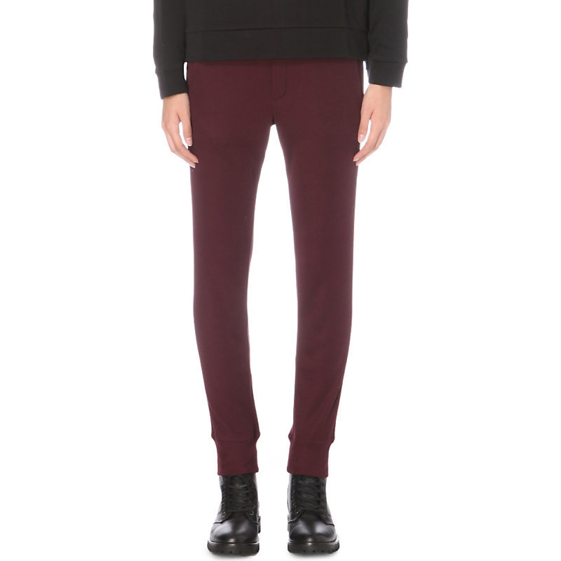 Skinny Jersey Jogging Bottoms, Women's, Size: Xs, Aubergine - length: standard; pattern: plain; style: tracksuit pants; waist: mid/regular rise; predominant colour: aubergine; occasions: casual; fibres: polyester/polyamide - 100%; fit: slim leg; pattern type: fabric; texture group: jersey - stretchy/drapey; season: a/w 2016; wardrobe: highlight