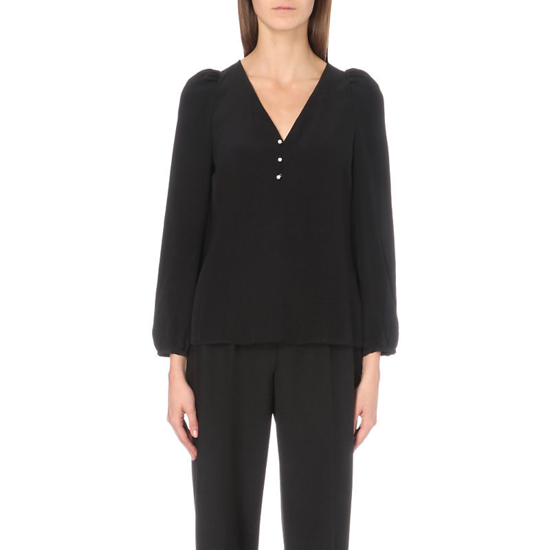 Bertille Silk Top, Women's, Noir - neckline: v-neck; pattern: plain; predominant colour: black; occasions: work; length: standard; style: top; fibres: silk - 100%; fit: body skimming; sleeve length: 3/4 length; sleeve style: standard; texture group: silky - light; pattern type: fabric; wardrobe: basic; season: a/w 2016; embellishment location: bust