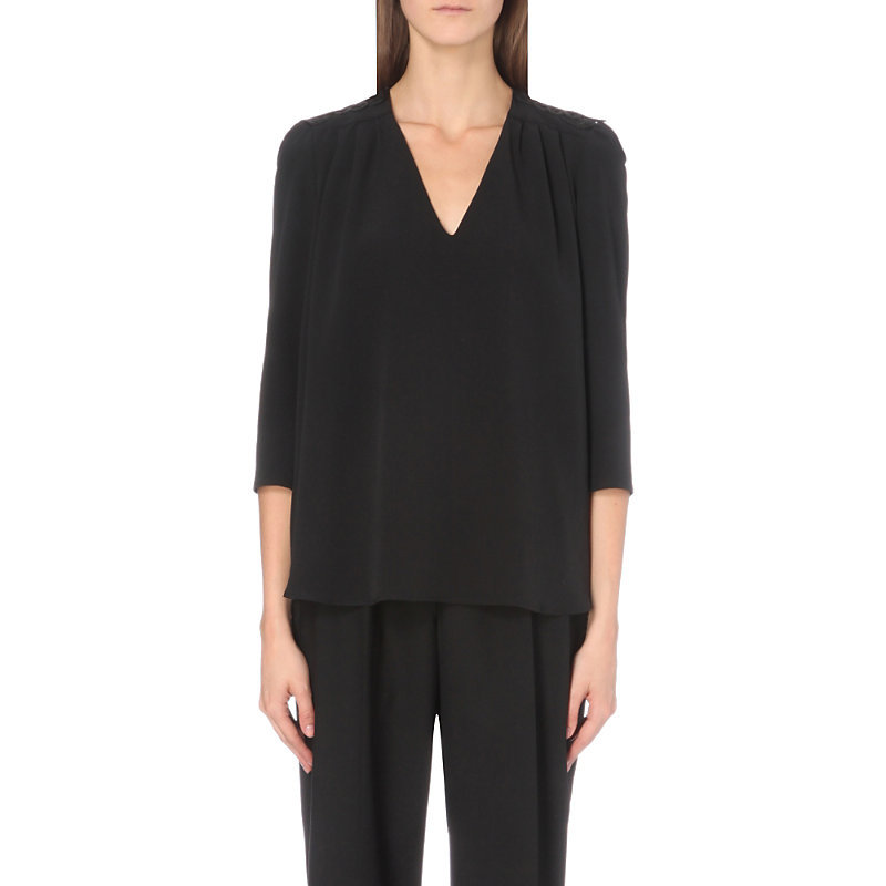 Blandine Crepe Top, Women's, Noir - neckline: v-neck; pattern: plain; predominant colour: black; occasions: work; length: standard; style: top; fibres: viscose/rayon - 100%; fit: loose; shoulder detail: subtle shoulder detail; sleeve length: 3/4 length; sleeve style: standard; texture group: crepes; pattern type: fabric; season: a/w 2016; wardrobe: highlight