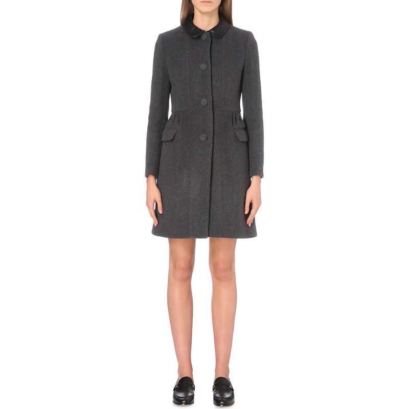 Garbo Coat Wool And Cashmere Blend Coat, Women's, Gris Chine - pattern: plain; style: single breasted; fit: slim fit; length: mid thigh; predominant colour: charcoal; occasions: casual; fibres: wool - mix; collar: shirt collar/peter pan/zip with opening; sleeve length: long sleeve; sleeve style: standard; collar break: high; pattern type: fabric; texture group: woven bulky/heavy; season: a/w 2016