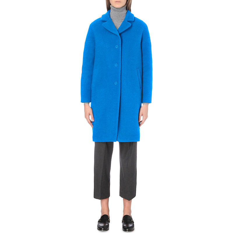 Galva Wool Blend Coat, Women's, Turquoise - pattern: plain; fit: loose; style: single breasted; length: on the knee; collar: standard lapel/rever collar; predominant colour: diva blue; occasions: casual, creative work; fibres: wool - mix; sleeve length: long sleeve; sleeve style: standard; collar break: medium; pattern type: fabric; texture group: woven bulky/heavy; season: a/w 2016; trends: oversized outerwear