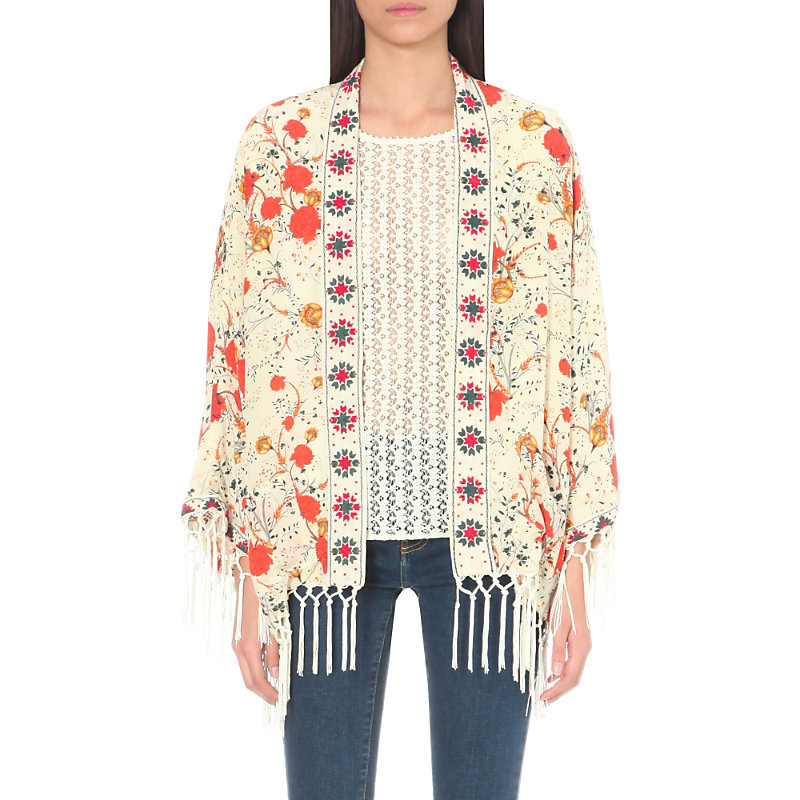 Floral Print Silk Kimono Jacket, Women's, White - collar: round collar/collarless; length: below the bottom; predominant colour: white; secondary colour: bright orange; occasions: casual; fit: straight cut (boxy); fibres: silk - 100%; sleeve length: long sleeve; sleeve style: standard; collar break: low/open; pattern type: fabric; pattern size: light/subtle; pattern: patterned/print; texture group: other - light to midweight; embellishment: fringing; style: fluid/kimono; season: a/w 2016; wardrobe: highlight; embellishment location: hip