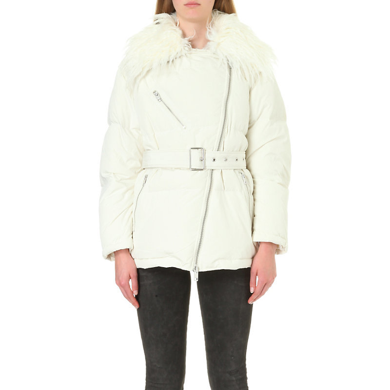 Moto Quilted Shell Jacket, Women's, Size: Large, 0lalv 129 - pattern: plain; length: standard; fit: loose; predominant colour: ivory/cream; occasions: casual; fibres: acrylic - 100%; waist detail: belted waist/tie at waist/drawstring; sleeve length: long sleeve; sleeve style: standard; collar: fur; collar break: high; pattern type: fabric; texture group: woven bulky/heavy; style: puffa; season: a/w 2016