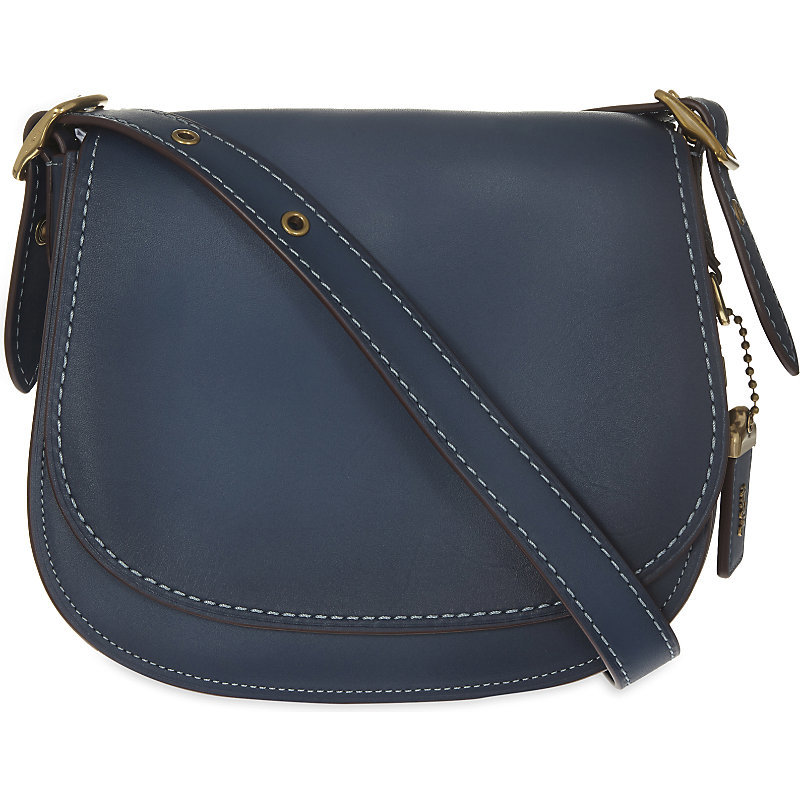 Glovetanned Leather Saddle Bag 23, Women's, Ol/Dark Denim - predominant colour: navy; occasions: casual, creative work; type of pattern: standard; style: saddle; length: across body/long; size: standard; material: faux leather; pattern: plain; finish: plain; season: s/s 2016; wardrobe: basic