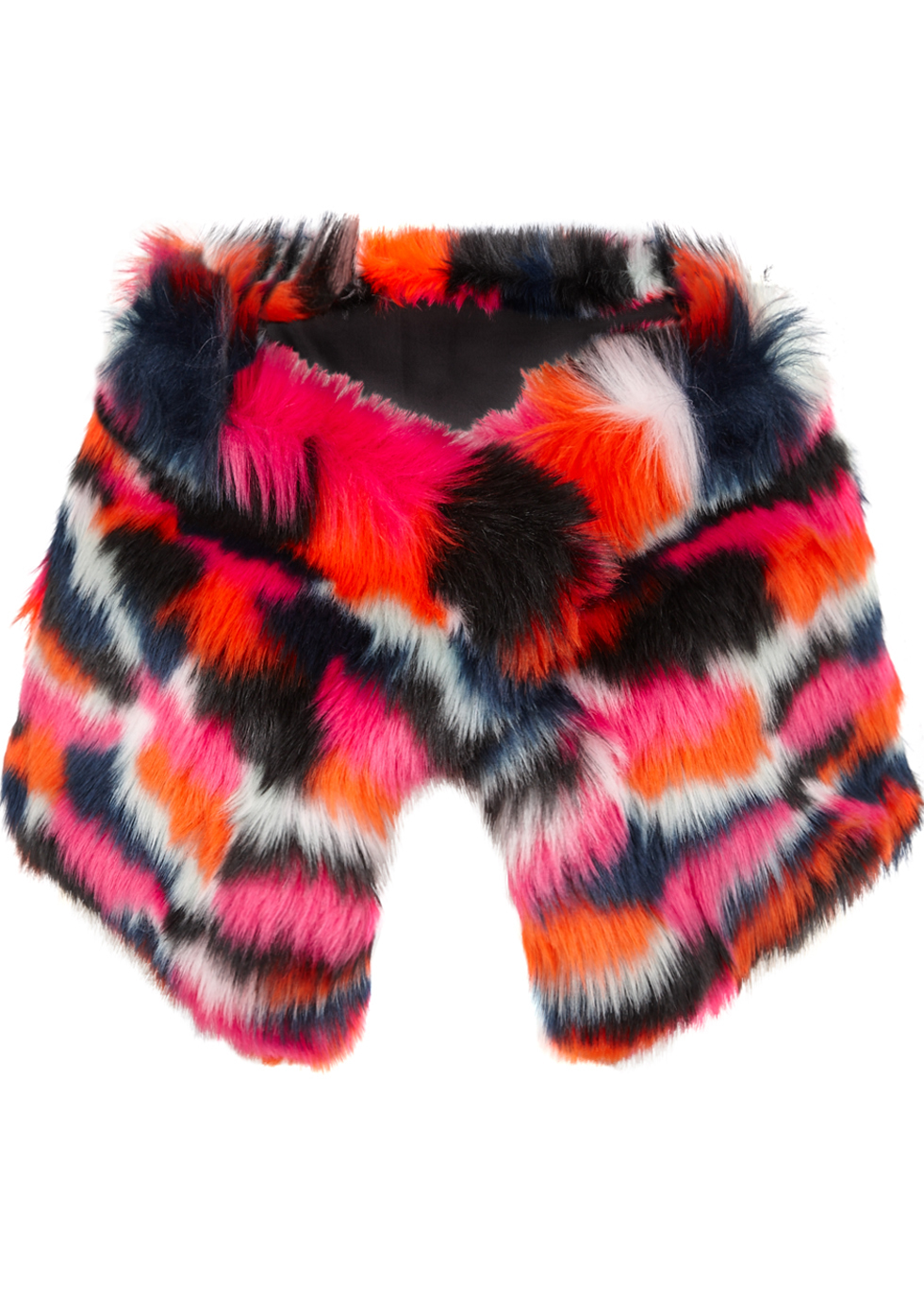 Faux Fur Scarf - predominant colour: hot pink; secondary colour: bright orange; occasions: casual, creative work; type of pattern: standard; size: large; material: faux fur; pattern: patterned/print; style: stole; multicoloured: multicoloured; season: a/w 2016; wardrobe: highlight; trends: opulent prints