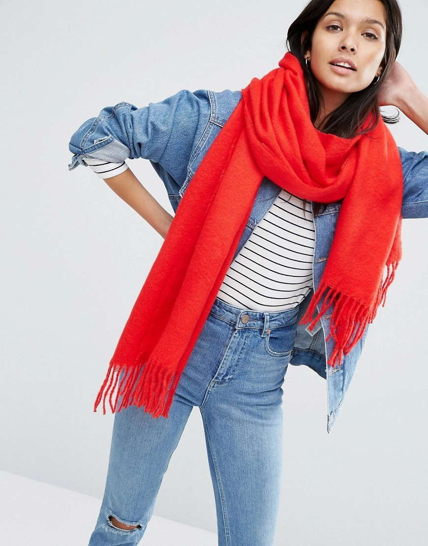 Supersoft Long Woven Scarf With Tassels Red - predominant colour: true red; occasions: casual; type of pattern: standard; style: pashmina; size: standard; material: fabric; embellishment: fringing; pattern: plain; season: a/w 2016; wardrobe: highlight