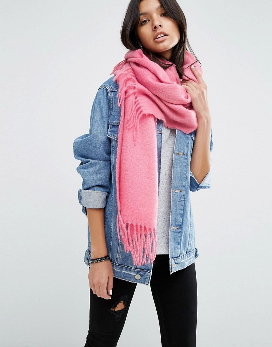 Supersoft Long Woven Scarf With Tassels Pink - predominant colour: pink; occasions: casual; type of pattern: standard; style: pashmina; size: standard; material: fabric; embellishment: fringing; pattern: plain; season: a/w 2016; wardrobe: highlight
