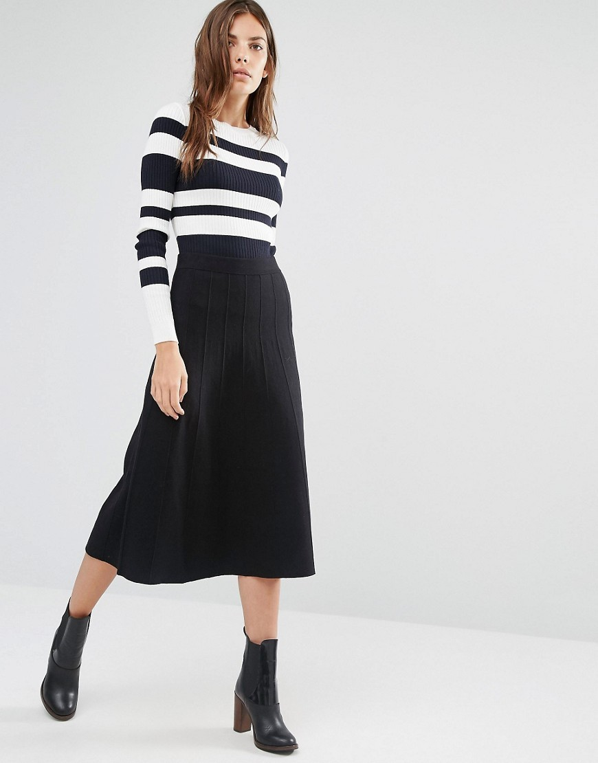 Fit And Flare Knitted Skirt Black - length: below the knee; pattern: plain; style: full/prom skirt; fit: loose/voluminous; waist: high rise; predominant colour: black; occasions: work, creative work; fibres: cotton - mix; texture group: knits/crochet; pattern type: fabric; season: a/w 2016