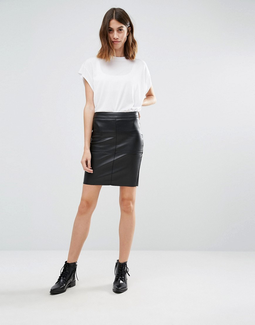 Faux Leather Mini Skirt Black - length: mini; pattern: plain; fit: tight; waist: high rise; predominant colour: black; occasions: casual, evening, creative work; style: mini skirt; fibres: polyester/polyamide - 100%; texture group: leather; pattern type: fabric; season: a/w 2016; wardrobe: highlight