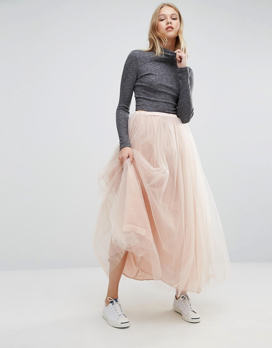 Tulle Maxi Skirt Pink - pattern: plain; style: full/prom skirt; length: ankle length; fit: loose/voluminous; waist: high rise; predominant colour: blush; fibres: polyester/polyamide - 100%; occasions: occasion; pattern type: fabric; texture group: net/tulle; season: a/w 2016; wardrobe: event