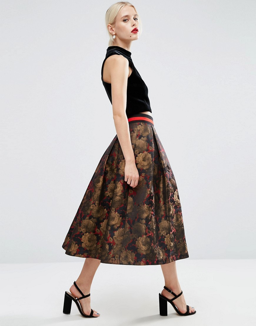 Floral Midi Prom Skirt With Contrast Waistband Multi - length: calf length; style: full/prom skirt; fit: loose/voluminous; waist: high rise; predominant colour: chocolate brown; secondary colour: camel; fibres: polyester/polyamide - mix; occasions: occasion, creative work; hip detail: subtle/flattering hip detail; pattern type: fabric; pattern: patterned/print; texture group: woven light midweight; multicoloured: multicoloured; season: a/w 2016; wardrobe: highlight; trends: opulent prints