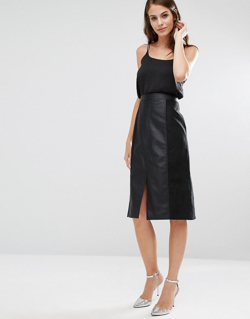 Leather Look & Suedette A Line Midi Skirt Black - length: below the knee; pattern: plain; fit: loose/voluminous; waist: high rise; predominant colour: black; style: a-line; fibres: polyester/polyamide - 100%; hip detail: slits at hip; texture group: leather; pattern type: fabric; occasions: creative work; season: a/w 2016