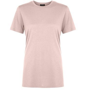 Mid Pink Boyrfriend T Shirt - pattern: plain; style: t-shirt; predominant colour: blush; occasions: casual; length: standard; fibres: cotton - mix; fit: loose; neckline: crew; sleeve length: short sleeve; sleeve style: standard; pattern type: fabric; texture group: jersey - stretchy/drapey; wardrobe: basic; season: a/w 2016