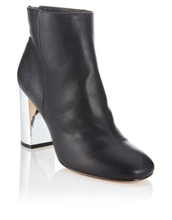 Metallic Block Heeled Ankle Boot - predominant colour: black; occasions: casual; material: leather; heel height: high; heel: block; toe: round toe; boot length: ankle boot; style: standard; finish: plain; pattern: plain; season: a/w 2016; wardrobe: highlight