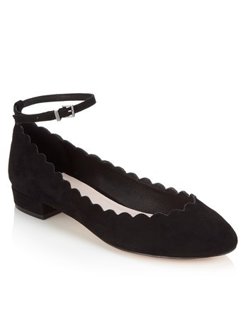 Scalloped Edge Pumps - predominant colour: black; occasions: casual; material: faux leather; heel height: flat; ankle detail: ankle strap; toe: round toe; style: ballerinas / pumps; finish: plain; pattern: plain; wardrobe: basic; season: a/w 2016