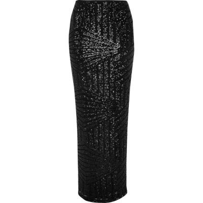Womens Black Sequin Panel Maxi Skirt - pattern: plain; length: ankle length; fit: body skimming; waist: mid/regular rise; predominant colour: black; occasions: evening; style: maxi skirt; fibres: polyester/polyamide - stretch; hip detail: slits at hip; pattern type: fabric; texture group: woven light midweight; embellishment: sequins; season: a/w 2016; wardrobe: event