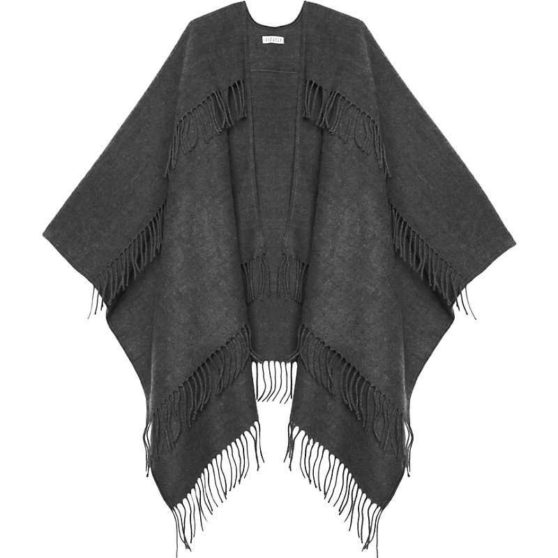 Atole Scarf, Women's, Light Gray/Dark Blue/Light Blue - predominant colour: charcoal; occasions: casual, creative work; type of pattern: standard; style: wrap; size: large; material: knits; embellishment: fringing; pattern: plain; wardrobe: basic; season: a/w 2016
