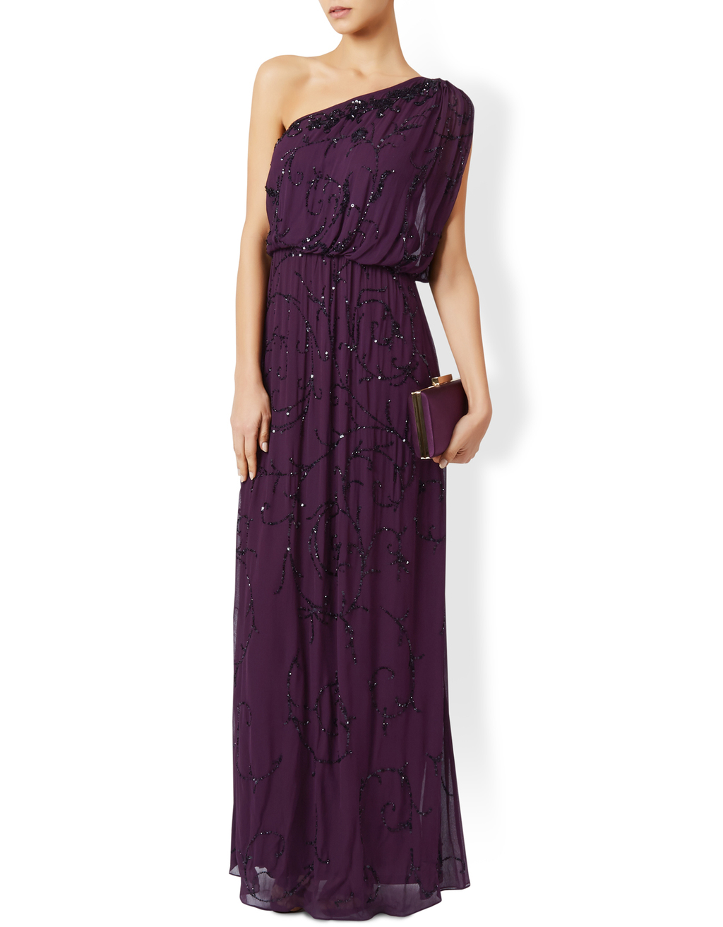 Ember Maxi Dress - fit: loose; pattern: plain; sleeve style: sleeveless; style: asymmetric (top); neckline: asymmetric; predominant colour: aubergine; occasions: evening; length: floor length; fibres: polyester/polyamide - 100%; sleeve length: sleeveless; pattern type: fabric; texture group: jersey - stretchy/drapey; embellishment: beading; season: a/w 2016