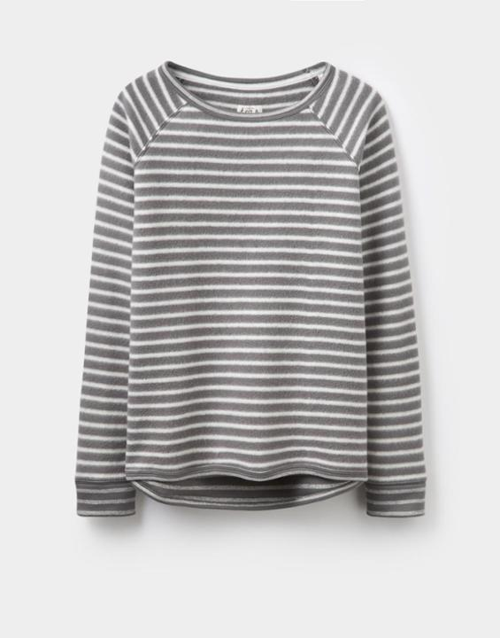 Anais Loungewear Sweatshirt Grey Stripe - pattern: horizontal stripes; style: sweat top; secondary colour: ivory/cream; predominant colour: mid grey; occasions: casual; length: standard; fibres: cotton - 100%; fit: straight cut; neckline: crew; sleeve length: long sleeve; sleeve style: standard; pattern type: fabric; pattern size: standard; texture group: jersey - stretchy/drapey; multicoloured: multicoloured; season: a/w 2016