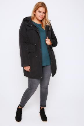 Black Padded Parka Coat With Quilted Shoulders & Hood - pattern: plain; fit: loose; style: parka; back detail: hood; collar: high neck; length: mid thigh; predominant colour: black; occasions: casual; fibres: cotton - mix; sleeve length: long sleeve; sleeve style: standard; texture group: cotton feel fabrics; collar break: high; pattern type: fabric; wardrobe: basic; season: a/w 2016