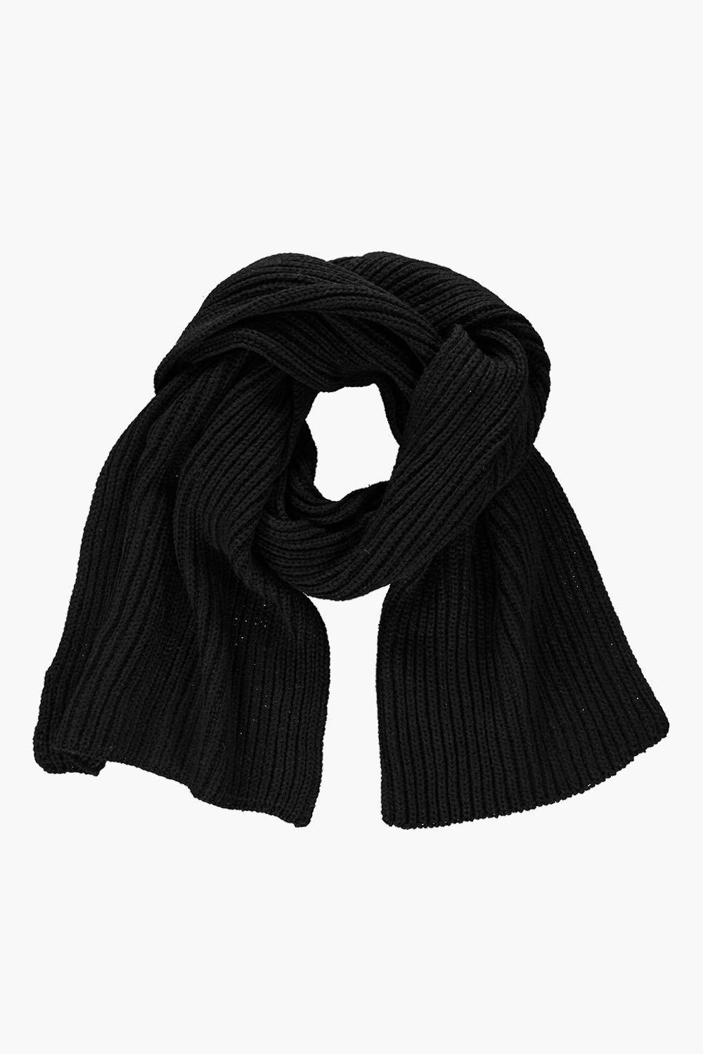 Ribbed Knit Oversize Scarf Black - predominant colour: black; occasions: casual; type of pattern: standard; style: regular; size: standard; material: fabric; pattern: plain; wardrobe: basic; season: a/w 2016