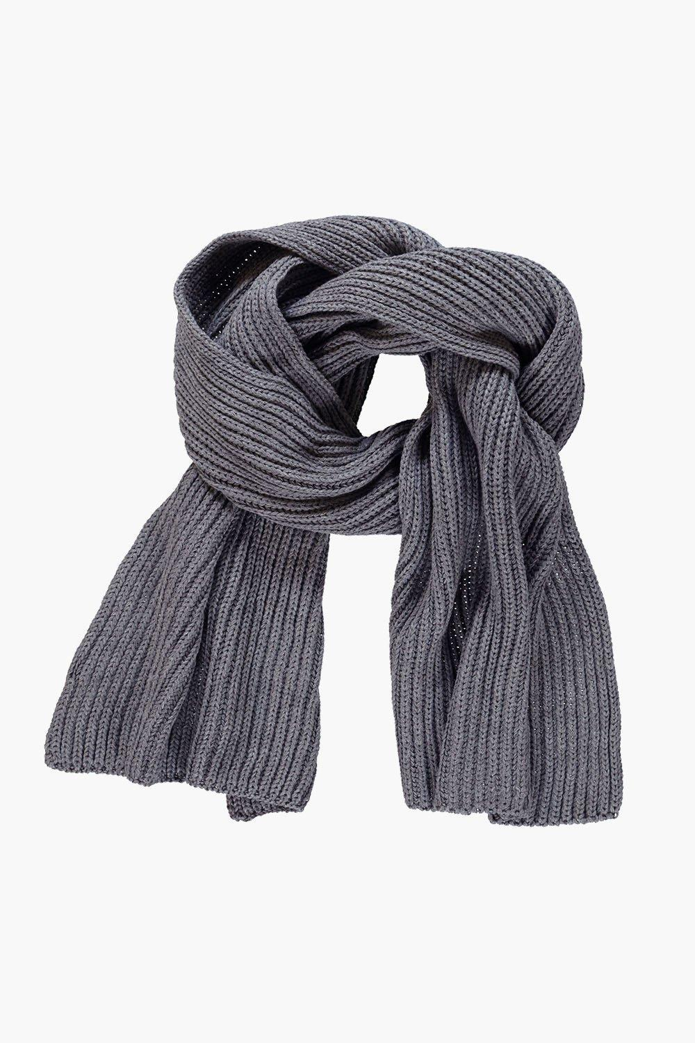 Ribbed Knit Oversize Scarf Grey - predominant colour: charcoal; occasions: casual, creative work; type of pattern: standard; style: regular; size: standard; material: knits; pattern: plain; wardrobe: basic; season: a/w 2016