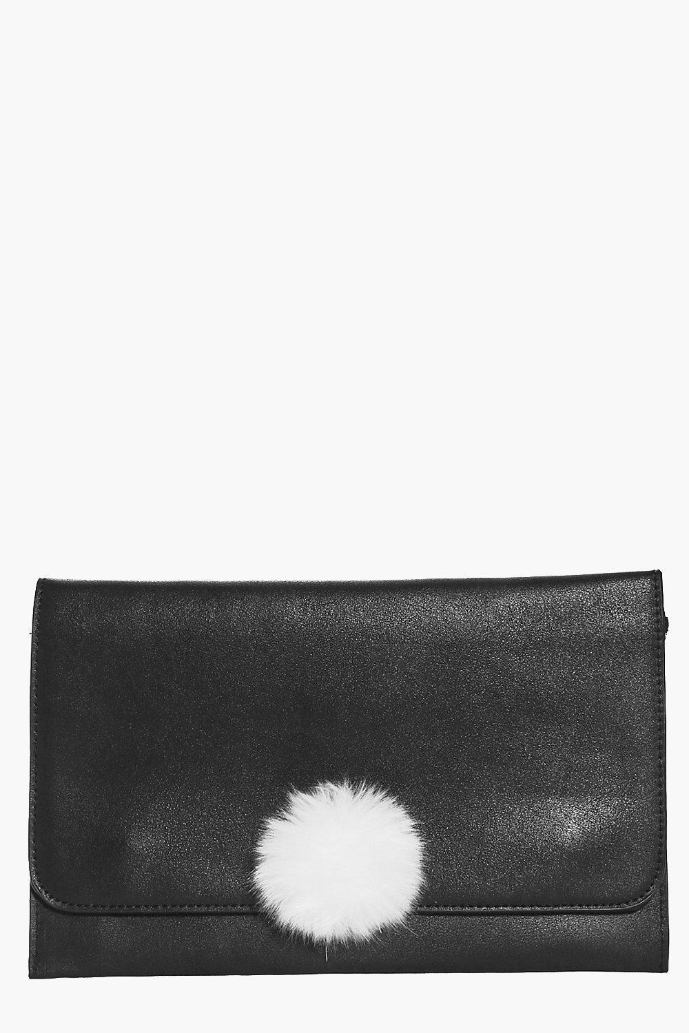 Pom Detail Clutch Bag Black - secondary colour: white; predominant colour: black; occasions: evening; type of pattern: standard; style: clutch; length: hand carry; size: standard; material: leather; pattern: plain; finish: plain; embellishment: pompom; multicoloured: multicoloured; season: a/w 2016; wardrobe: event