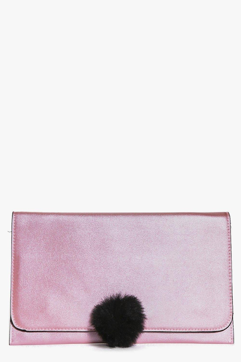 Pom Detail Clutch Bag Pink - predominant colour: blush; occasions: evening; type of pattern: standard; style: clutch; length: hand carry; size: standard; material: faux leather; pattern: plain; finish: metallic; embellishment: pompom; season: a/w 2016; wardrobe: event