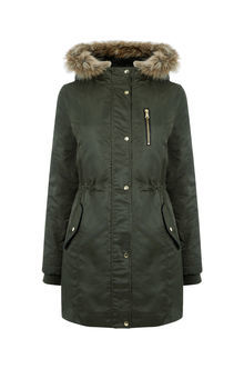 Mara Parka - pattern: plain; collar: funnel; style: parka; back detail: hood; length: mid thigh; predominant colour: dark green; secondary colour: stone; occasions: casual; fit: tailored/fitted; fibres: cotton - mix; hip detail: subtle/flattering hip detail; waist detail: fitted waist; sleeve length: long sleeve; sleeve style: standard; texture group: waxed cotton; collar break: high; pattern type: fabric; embellishment: fur; season: a/w 2016; wardrobe: highlight