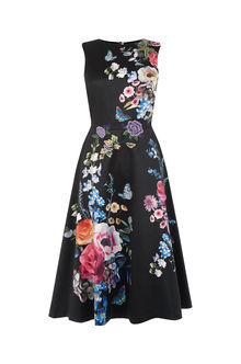Embroidered Floral Midi Dress - length: below the knee; sleeve style: sleeveless; style: full skirt; secondary colour: diva blue; predominant colour: black; occasions: evening; fit: fitted at waist & bust; fibres: polyester/polyamide - 100%; neckline: crew; sleeve length: sleeveless; texture group: silky - light; pattern type: fabric; pattern: florals; multicoloured: multicoloured; season: a/w 2016; wardrobe: event