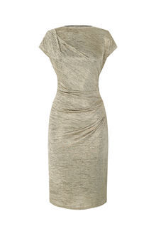 Drape Foil Dress - style: shift; neckline: slash/boat neckline; sleeve style: capped; pattern: plain; predominant colour: champagne; occasions: evening; length: on the knee; fit: body skimming; fibres: polyester/polyamide - stretch; sleeve length: short sleeve; pattern type: fabric; texture group: jersey - stretchy/drapey; season: a/w 2016; wardrobe: event