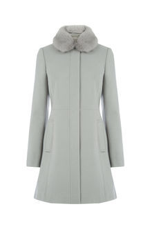 Sophia Faux Fur Collar Coat - pattern: plain; style: single breasted; fit: slim fit; length: mid thigh; predominant colour: light grey; occasions: casual; fibres: polyester/polyamide - 100%; sleeve length: long sleeve; sleeve style: standard; collar: fur; collar break: high; pattern type: fabric; texture group: woven bulky/heavy; wardrobe: basic; season: a/w 2016