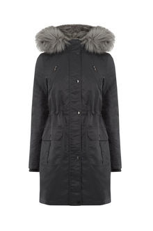 Petite Diana Parka - pattern: plain; collar: funnel; fit: loose; style: parka; back detail: hood; length: mid thigh; predominant colour: black; occasions: casual; fibres: polyester/polyamide - 100%; sleeve length: long sleeve; sleeve style: standard; texture group: technical outdoor fabrics; collar break: high; pattern type: fabric; embellishment: fur; season: a/w 2016; wardrobe: highlight