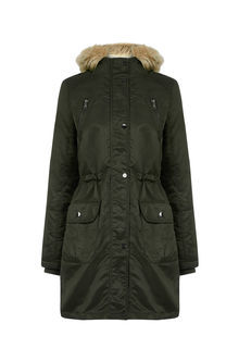 Petite Diana Parka - pattern: plain; collar: funnel; fit: loose; style: parka; back detail: hood; length: mid thigh; predominant colour: black; occasions: casual; fibres: polyester/polyamide - 100%; waist detail: belted waist/tie at waist/drawstring; sleeve length: long sleeve; sleeve style: standard; texture group: technical outdoor fabrics; collar break: high; pattern type: fabric; embellishment: fur; season: a/w 2016; wardrobe: highlight