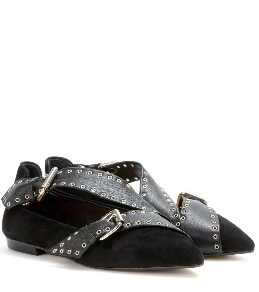 Linnet Embellished Suede Ballerinas - predominant colour: black; occasions: casual, creative work; material: suede; heel height: flat; embellishment: buckles; toe: pointed toe; style: ballerinas / pumps; finish: plain; pattern: plain; wardrobe: basic; season: a/w 2016