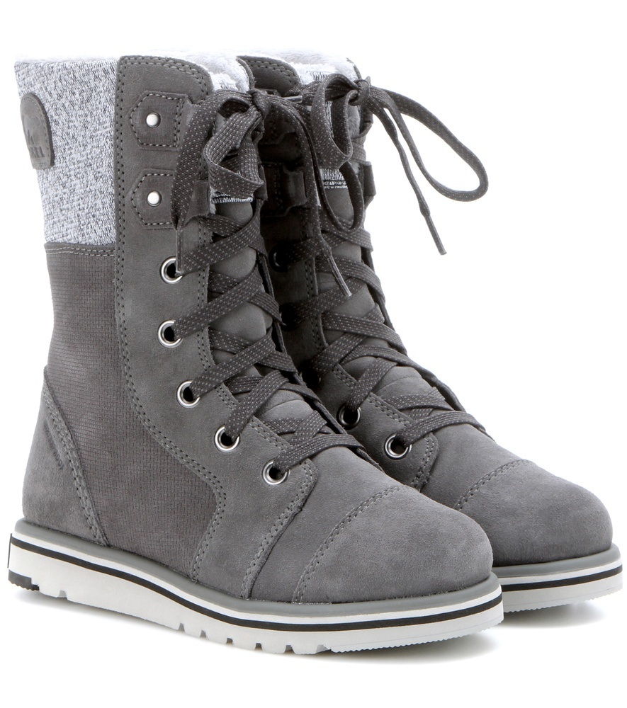 Rylee™ Lace Suede Boots - predominant colour: mid grey; occasions: casual; material: leather; heel height: flat; heel: standard; toe: round toe; boot length: ankle boot; style: hiking; finish: plain; pattern: plain; wardrobe: basic; season: a/w 2016