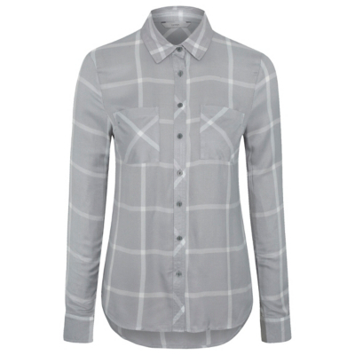 Check Print Woven Shirt Light Grey - neckline: shirt collar/peter pan/zip with opening; pattern: checked/gingham; style: shirt; secondary colour: white; predominant colour: light grey; occasions: casual; length: standard; fibres: cotton - 100%; fit: body skimming; sleeve length: long sleeve; sleeve style: standard; texture group: cotton feel fabrics; pattern type: fabric; multicoloured: multicoloured; season: a/w 2016; wardrobe: highlight