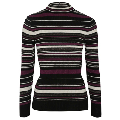 Funnel Neck Stripe Print Jumper Multi - pattern: horizontal stripes; neckline: roll neck; style: standard; predominant colour: black; occasions: casual, work, creative work; length: standard; fit: slim fit; sleeve length: long sleeve; sleeve style: standard; texture group: knits/crochet; pattern type: knitted - fine stitch; fibres: viscose/rayon - mix; multicoloured: multicoloured; season: a/w 2016; wardrobe: highlight