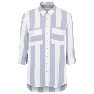 Stripe Print Shirt Blue - neckline: shirt collar/peter pan/zip with opening; pattern: striped; length: below the bottom; style: shirt; secondary colour: white; predominant colour: pale blue; occasions: casual; fibres: viscose/rayon - 100%; fit: loose; sleeve length: 3/4 length; sleeve style: standard; pattern type: fabric; pattern size: standard; texture group: jersey - stretchy/drapey; multicoloured: multicoloured; season: a/w 2016; wardrobe: highlight