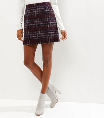 Burgundy Check Brushed Skirt - length: mini; pattern: tartan; waist: mid/regular rise; predominant colour: burgundy; secondary colour: navy; occasions: casual; style: mini skirt; fibres: acrylic - mix; fit: straight cut; pattern type: fabric; texture group: woven light midweight; multicoloured: multicoloured; season: a/w 2016; wardrobe: highlight