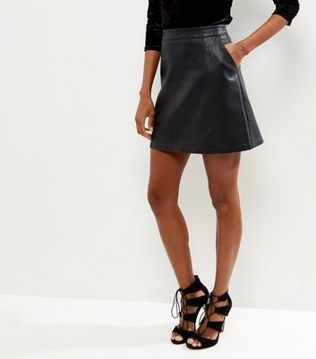 Black Leather Look Double Pocket Mini Skirt - length: mini; pattern: plain; fit: body skimming; waist: mid/regular rise; predominant colour: black; occasions: casual; style: mini skirt; texture group: leather; pattern type: fabric; fibres: pvc/polyurethene - stretch; season: a/w 2016; wardrobe: highlight
