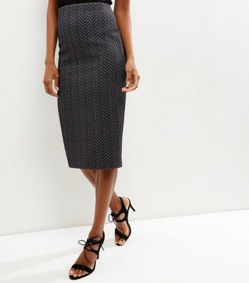 Black Zig Zag Pencil Skirt - length: below the knee; pattern: vertical stripes; style: pencil; fit: tailored/fitted; waist: high rise; predominant colour: black; occasions: work; fibres: polyester/polyamide - stretch; pattern type: fabric; texture group: jersey - stretchy/drapey; season: a/w 2016; wardrobe: highlight