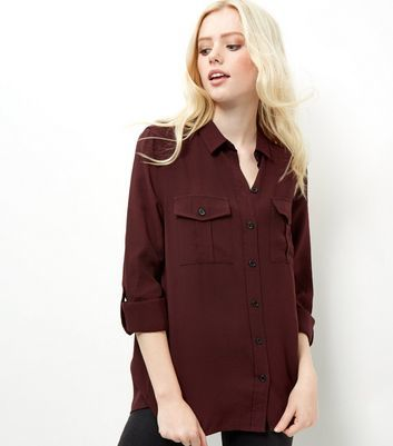 Burgundy Military Shirt - neckline: shirt collar/peter pan/zip with opening; pattern: plain; length: below the bottom; style: shirt; predominant colour: burgundy; occasions: casual; fibres: viscose/rayon - stretch; fit: loose; sleeve length: long sleeve; sleeve style: standard; pattern type: fabric; texture group: jersey - stretchy/drapey; season: a/w 2016