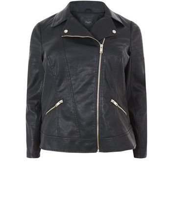 Black Leather Look Biker Jacket - pattern: plain; style: biker; collar: asymmetric biker; fit: slim fit; predominant colour: black; occasions: casual; length: standard; fibres: polyester/polyamide - 100%; sleeve length: long sleeve; sleeve style: standard; texture group: leather; collar break: medium; pattern type: fabric; embellishment: zips; wardrobe: basic; season: a/w 2016