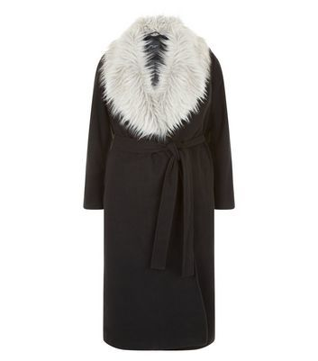 Curves Black Contrast Faux Fur Wrap Front Maxi Coat - pattern: plain; fit: loose; length: on the knee; style: wrap around; secondary colour: light grey; predominant colour: black; occasions: casual; fibres: polyester/polyamide - mix; waist detail: belted waist/tie at waist/drawstring; sleeve length: long sleeve; sleeve style: standard; collar: fur; collar break: medium; pattern type: fabric; texture group: woven bulky/heavy; multicoloured: multicoloured; wardrobe: basic; season: a/w 2016
