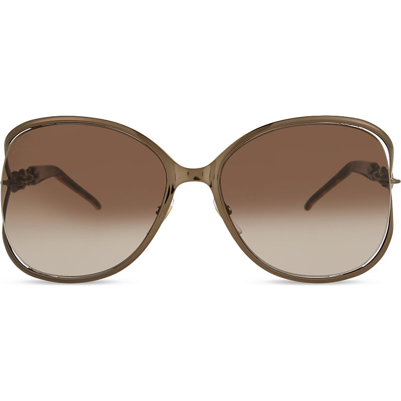 Gg4250 Chain Link Butterfly Frame Sunglasses, Women's, Brown - predominant colour: taupe; occasions: casual, holiday; style: square; size: large; material: plastic/rubber; pattern: plain; finish: plain; wardrobe: basic; season: a/w 2016